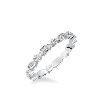 Stackable Eternity Band With Diamond And Milgrain Multi-Shape Alternating Design