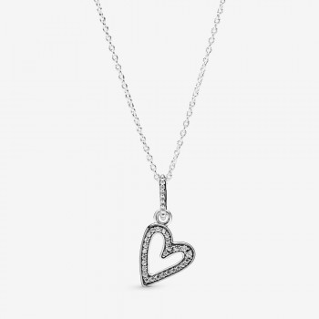 Sparkling Freehand Heart Pendant Necklace