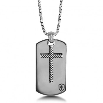 """Black Ruthenium & Silver Dog Tag 26"""" Necklace with Cross"""