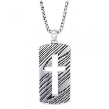 Rogue 26'' Silver Dog Tag Necklace