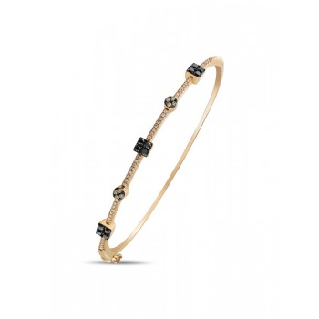 14K ROSE GOLD BANGLE WITH WHITE, BROWN AND BLACK DIAMONDS