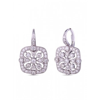 14K WHITE GOLD EARRINGS WITH WHITE DIAMONDS