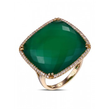 14K YELLOW GOLD RING WITH GREEN AGATE STONE AND WHITE DIAMONDS
