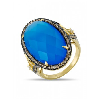 14K YELLOW GOLD RING WITH BLUE AGATE STONE, WHITE AND BROWN DIAMONDS