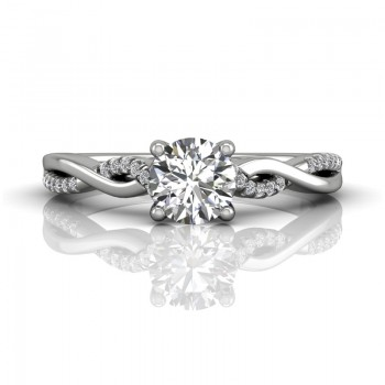 Martin Flyer FlyerFit Solitaire 14k White Gold Cut Down Engagement Ring