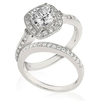 Gottlieb & Sons Engagement Ring Set: Halo Style