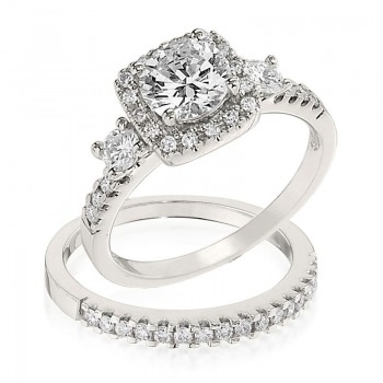 Gottlieb & Sons Engagement Ring Set: Square Halo Style