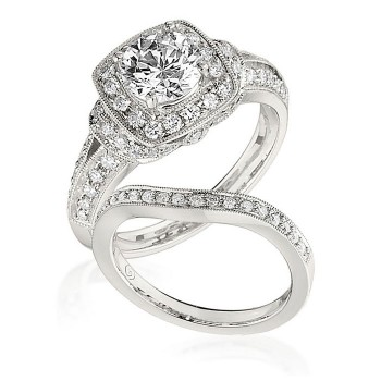 Gottlieb & Sons Engagement Ring Set: Vintage Inspired Fancy Halo