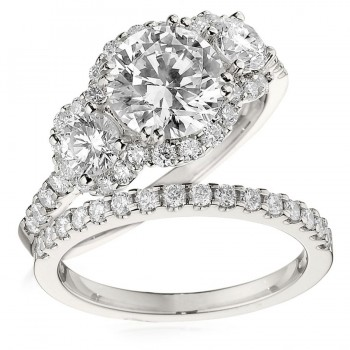 Gottlieb & Sons Engagement Ring Set: Three-Stone Halo