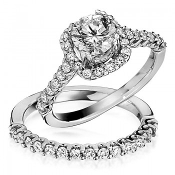 Gottlieb & Sons Engagement Ring Set: Classic Halo
