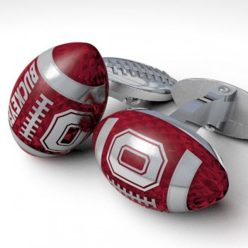 Buckeyes Sterling Enameled Cuff-links