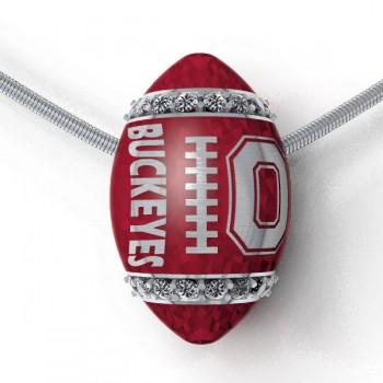 Buckeyes Diamond Sterling Football Pendant