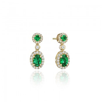 Set the Scene Emerald and Diamond Dangle Earrings