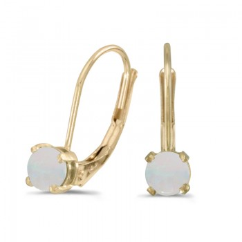14k Yellow Gold Round Opal Lever-back Earrings