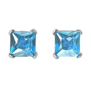 14k White Gold Square Blue Topaz Stud Earrings