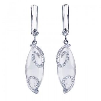 14K White Gold Cabochon Rose Quartz and Diamond Earrings