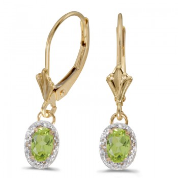 14k Yellow Gold Oval Peridot And Diamond Leverback Earrings