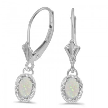 14k white Gold Oval Opal And Diamond Leverback Earrings