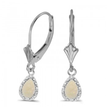 14k White Gold Pear Opal And Diamond Leverback Earrings