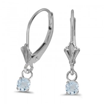 14k White Gold Round Aquamarine Lever-back Earrings