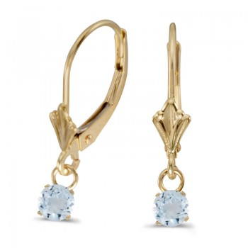 14k Yellow Gold 5mm Round Genuine Aquamarine Lever-back Earrings