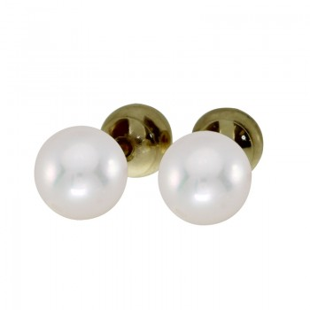 14k Yellow Gold and 6mm AAA Quality Pearl Reversible Stud Earrings