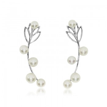 14k White Gold Leaf Cuff Pearl Earrings