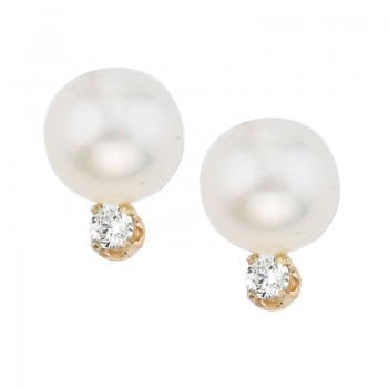 14kt Yellow Gold 7 mm Pearl and Diamond Stud Earring (.10 carat)
