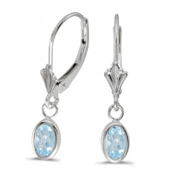 14k White Gold Oval Aquamarine Bezel Lever-back Earrings