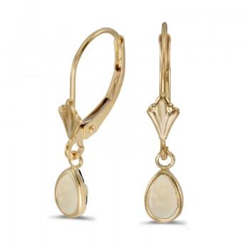 14k Yellow Gold Pear Opal Bezel Lever-back Earrings