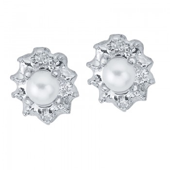 10k White Gold Genuine Pearl And Diamond Earrings