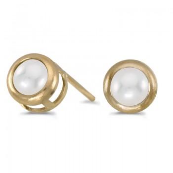 14k Yellow Gold Pearl Bezel Stud Earrings