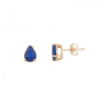 14k Yellow Gold Pear Shaped Sapphire Earrings