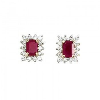 14k Yellow Gold Diamond and Octagonal Ruby Earring