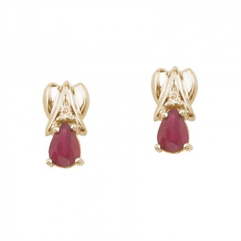 14k Yellow Gold Pear-Shaped Ruby and Diamond Stud Earrings