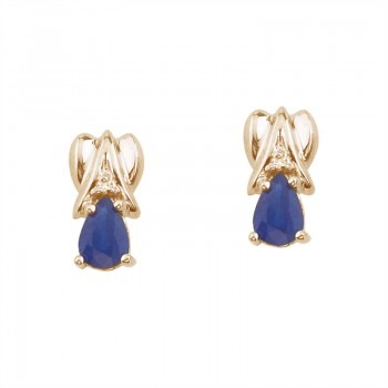 14k Yellow Gold Pear-Shaped Sapphire and Diamond Stud Earrings