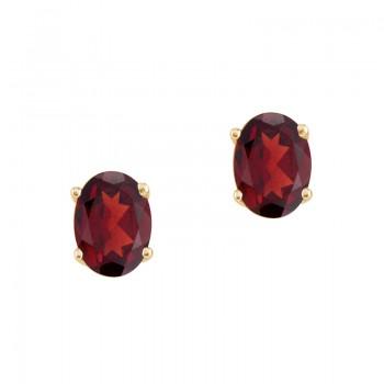14k Yellow Gold Oval Garnet Stud Earrings