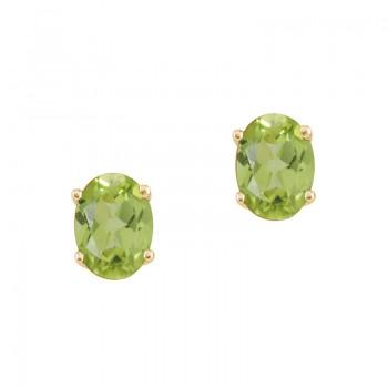 14k Yellow Gold Oval Peridot Stud Earrings