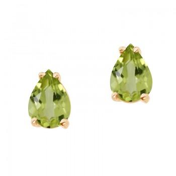 14k Yellow Gold Pear Shaped Peridot Earrings