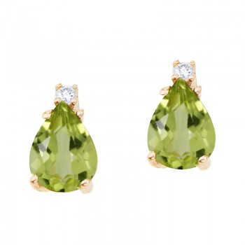 14k Yellow Gold Pear Shaped Peridot and Diamond Earrings
