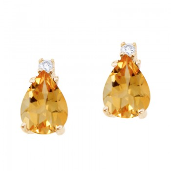 14k Yellow Gold Pear Shaped Citrine and Diamond Earrings