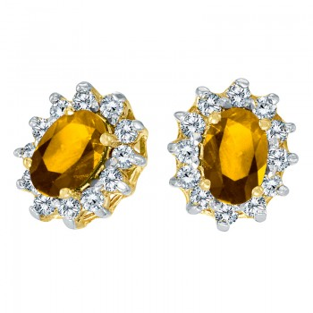 14k Yellow Gold Oval Citrine and .25 total ct Diamond Earrings