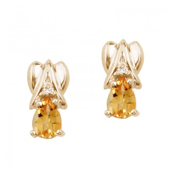 14k Yellow Gold Citrine and Diamond Pear Shaped Earrings