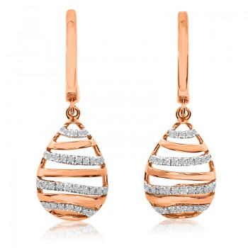 14k Rose Gold Beehive Diamond Earrings