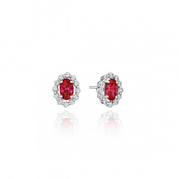 Minimalist Magic Ruby and Diamond Studs