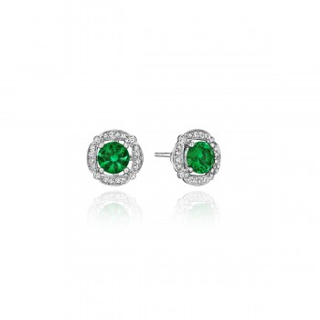 From Dawn to Dusk All-Occasion Emerald and Diamond Studs