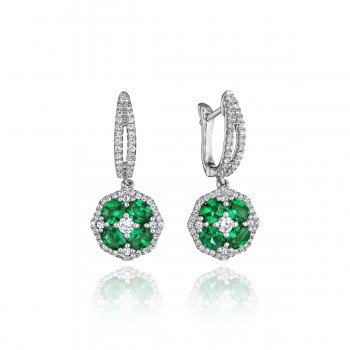 Steal The Spotlight Emerald and Diamond Cluster Drop Earrings