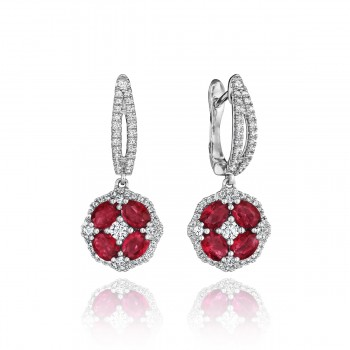 Steal The Spotlight Ruby and Diamond Cluster Drop Earrings