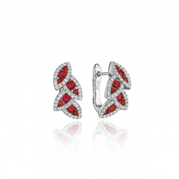 Glam Galore Dramatic Ruby and Diamond Leaf Earrings