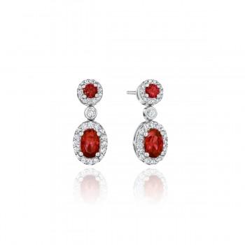 Set the Scene Ruby and Diamond Dangle Earrings